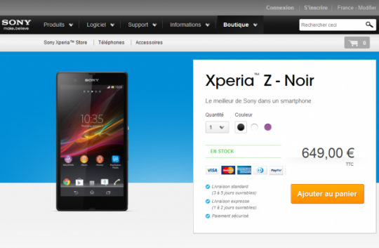 Le Sony Xperia Z disponible en avance en Europe.