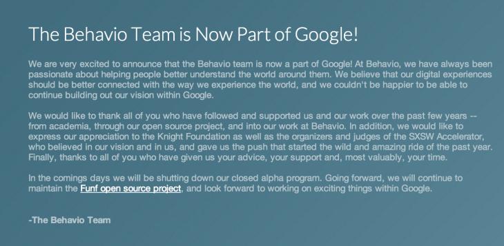 Google vient de recruter l'équipe qui a conçu Behavio, une Startup qui peut prédire le futur