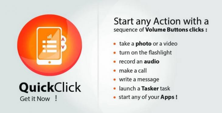QuickClick déclenche rapidement des actions sur votre téléphone avec les boutons du volume