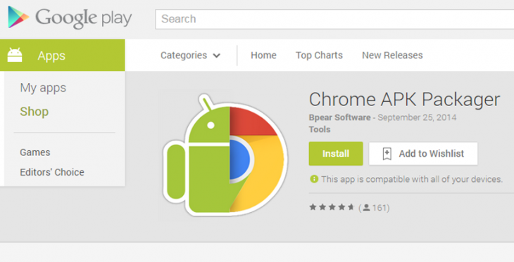 Le Chrome APK Packager est disponible sur le Play Store