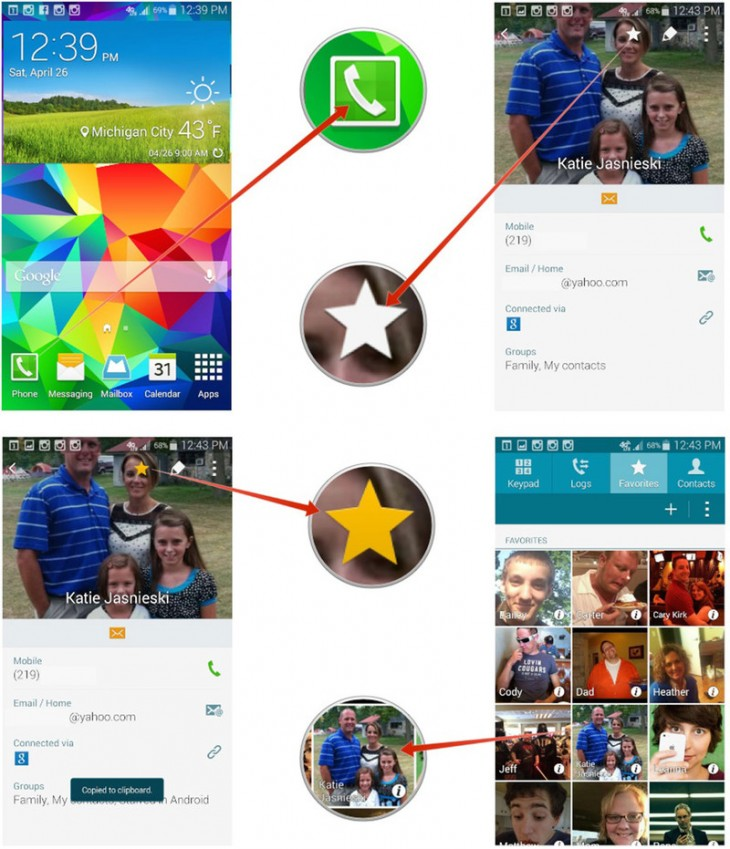 how to add address in contacts on galaxy s5