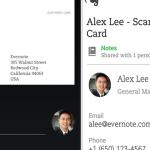 Evernote peut maintenant lire des cartes de visite