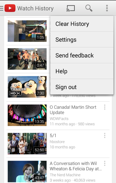 youtube history clearing
