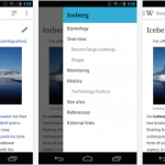 L'application Wikipedia sur Android utilise le Material Design