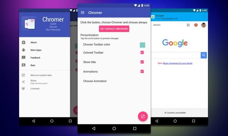 Chromer vous permet de naviguer depuis des applications tierces comme si vous étiez sur Chrome