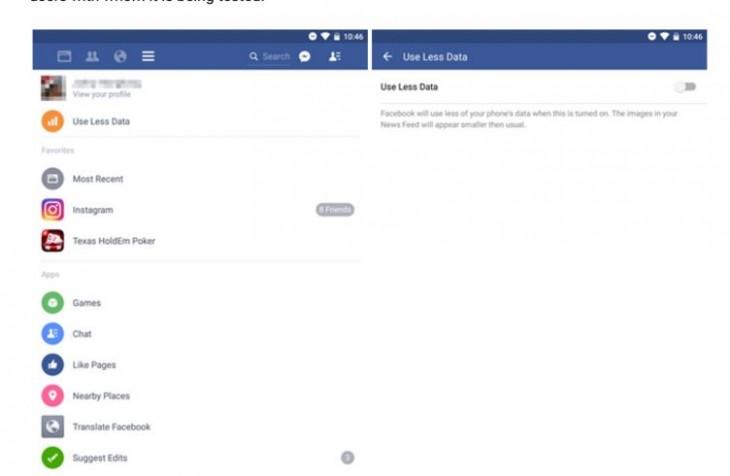 L'application Facebook pour Android teste une option pour utiliser moins de données