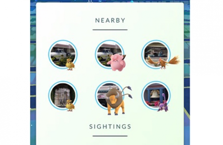 Pokemon Go propose les options Nearby et Sightings
